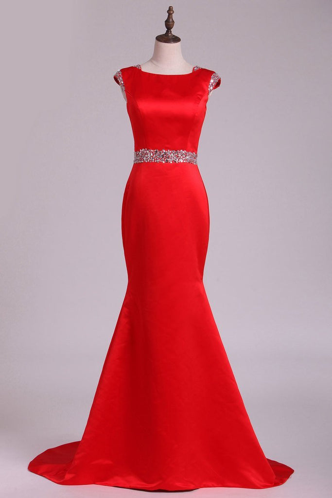 2019 Prom Dresses Scoop Beaded Waistband Satin Sweep Train Mermaid