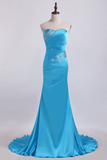 2019 Mermaid Strapless Elastic Satin With Beadings Prom Dresses Sweep/Brush Train
