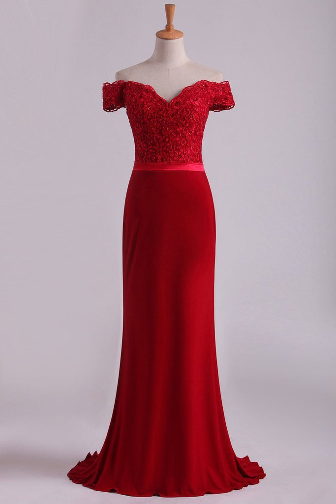 2019 Off The Shoulder Prom Dresses Spandex Burgundy/Maroon Sweep Train With Applique