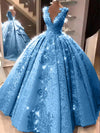 Ball Gown V Neck Floor Length Prom Dresses with Appliques, Quinceanera Dress SSA15565