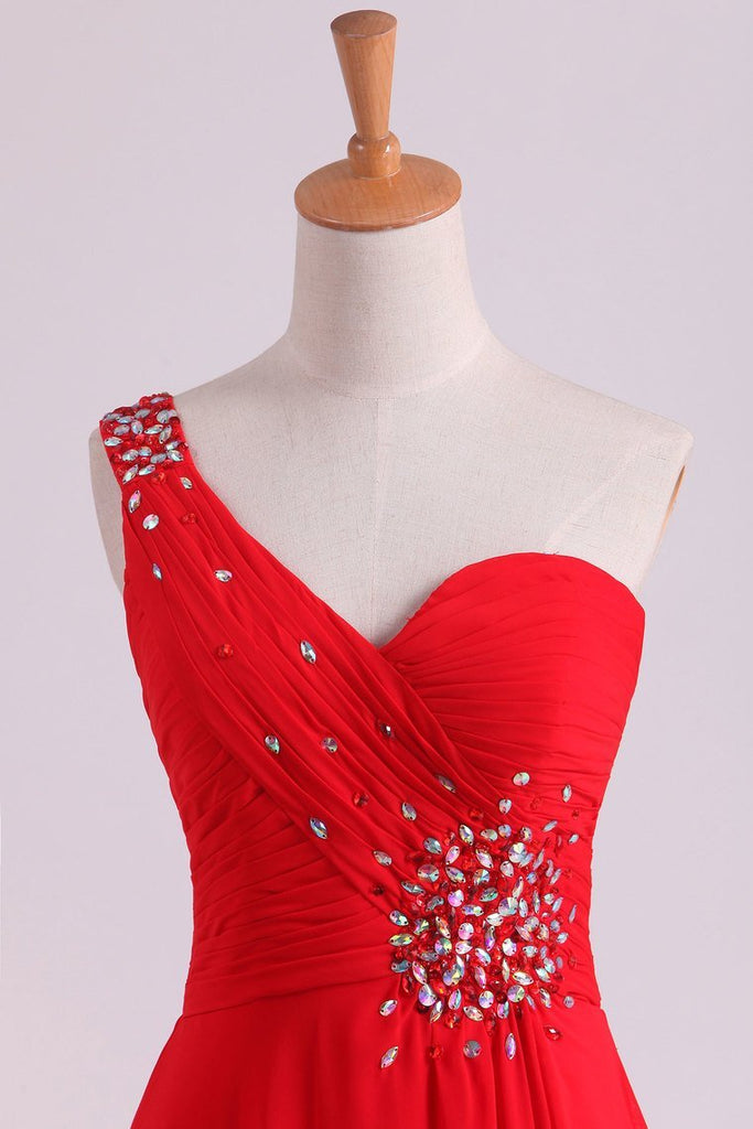 2019 Red One Shoulder A Line Prom Dresses Chiffon Floor Length With Beading And