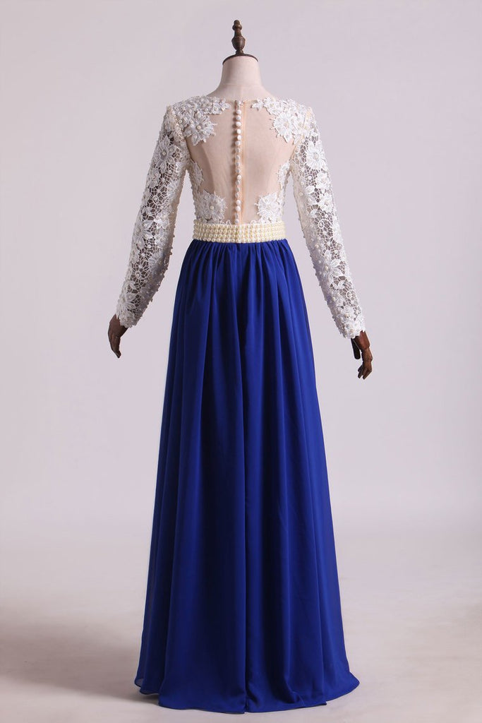 2019 Hot V Neck Prom Dresses A Line Chiffon With Applique Sweep Train Dark Royal Blue