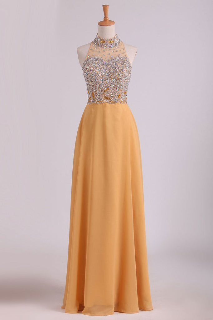 2019 High Neck A Line Chiffon Beaded Bodice Prom Dresses Sweep Train