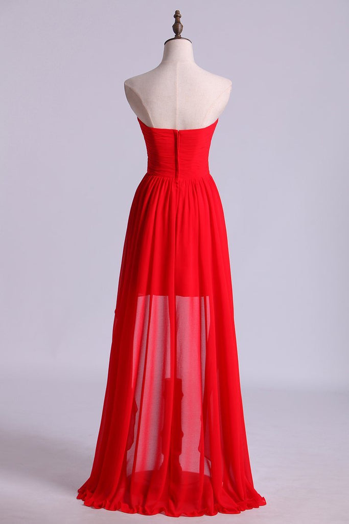 2019 Red High Low Sweetheart A Line Pleated Bodice Flowing Chiffon