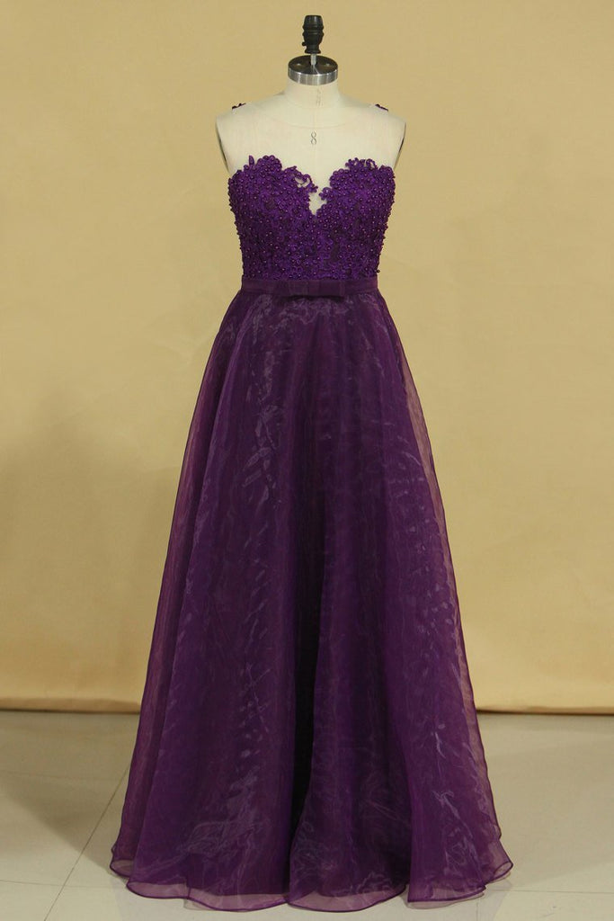 2019 Hot Prom Dresses Scoop A Line With Sash And Applique Grape