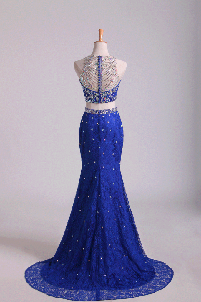 2019 Two-Piece Scoop Mermaid Prom Dresses With Beading Lace Dark Royal