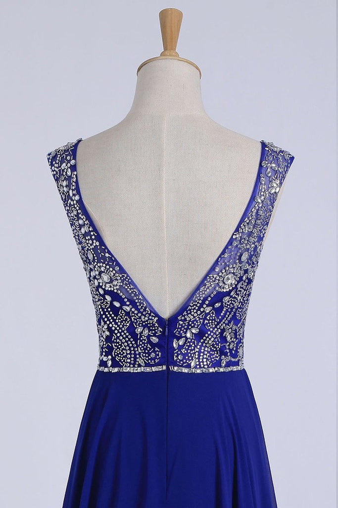 2019 Prom Dresses A-Line Scoop Floor-Length Dark Royal Blue Chiffon Beaded Bodice