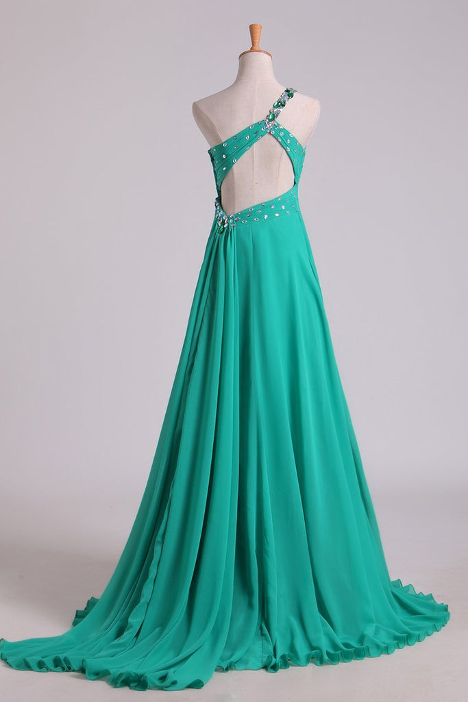 2019 Prom Dresses One Shoulder With Beading/Sequins A Line Chiffon Asymmetrical