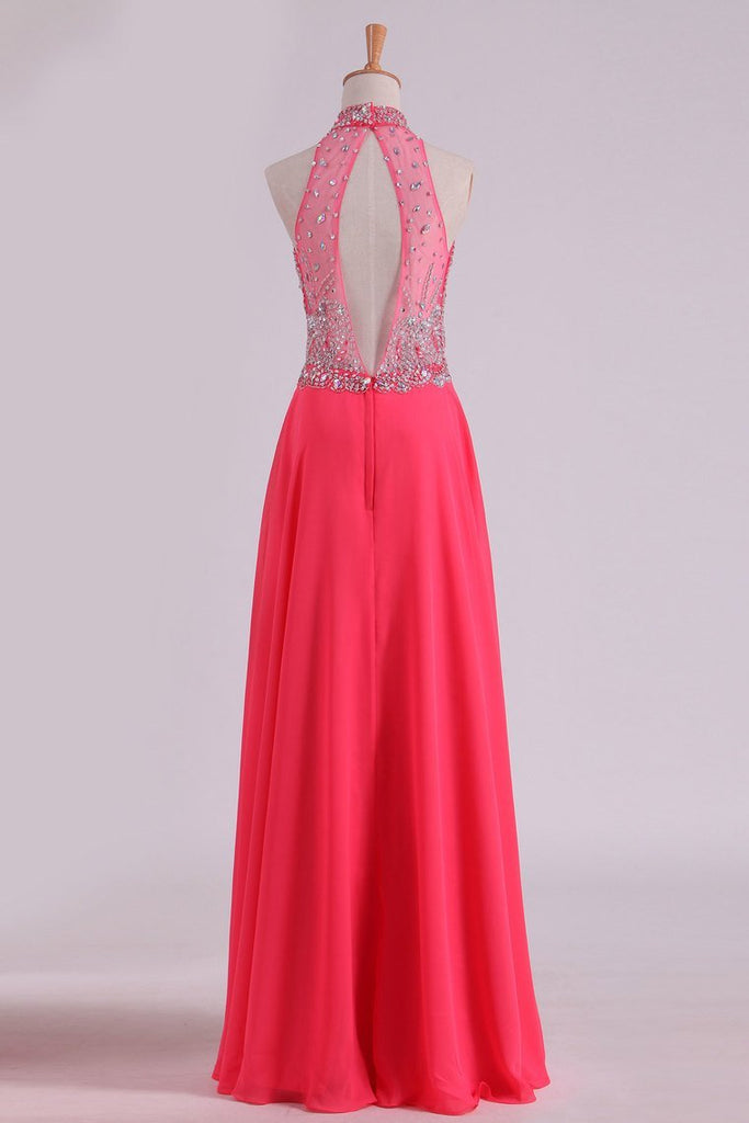 2019 High Neck Prom Dresses A Line Chiffon With Beading Sweep Train