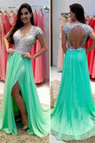 Green Beads Green prom dresses Open back prom dresses Sexy prom dresses prom dress online