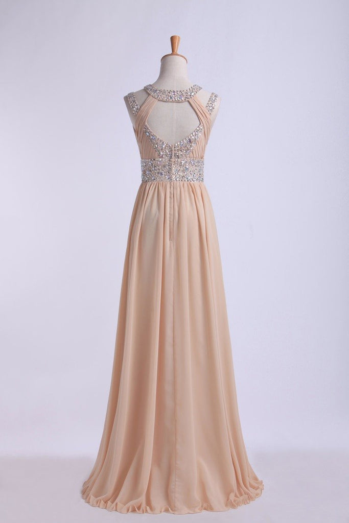 2019 Prom Dresses Scoop A Line Floor-Length Open Back Chiffon With Beading