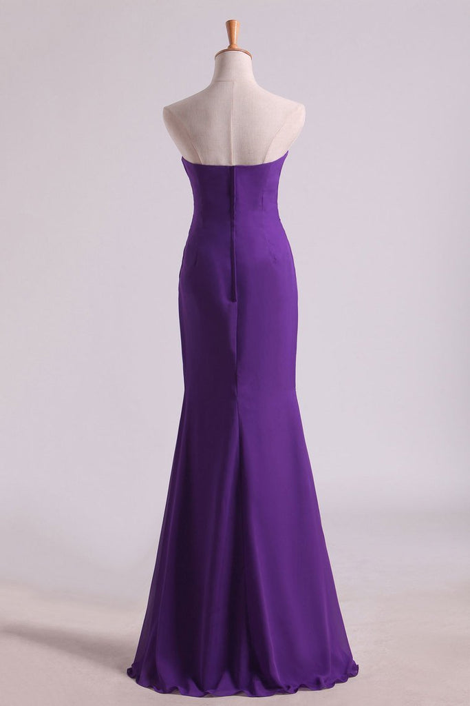 2019 Hot Purple Sweetheart Ruffled Bodice Floor Length Sheath Chifoon Evening Dresses