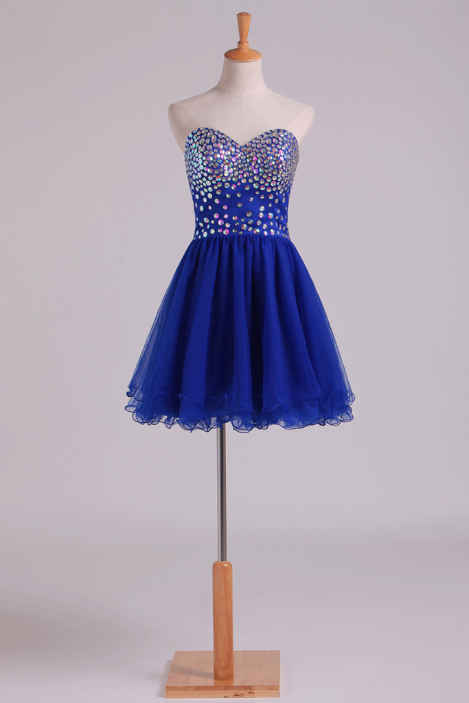 2019 New Arrival Dark Royal Blue A Line Sweetheart Homecoming Dresses Tulle Short With Beads