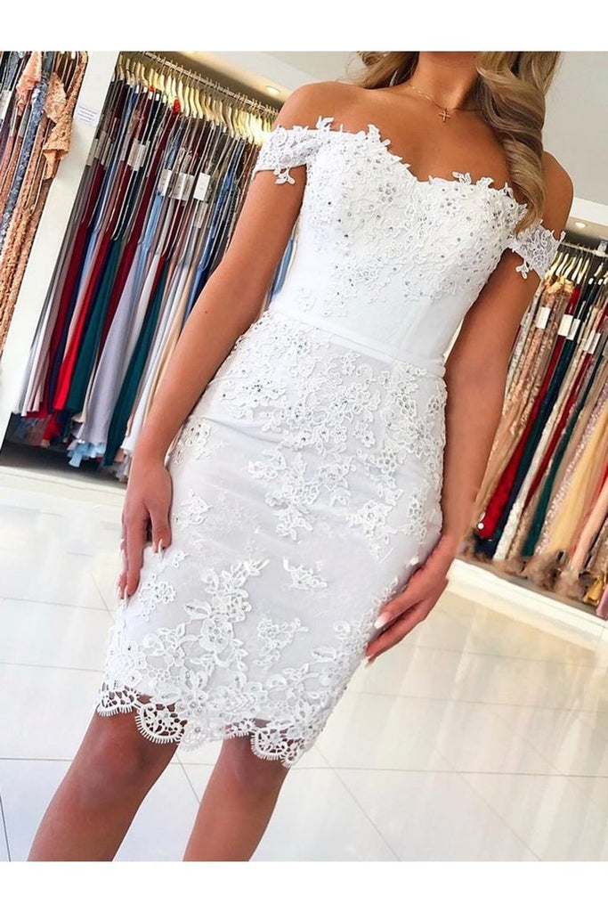 Off Shoulder Short Lace Graduation Formal Homecoming Dresses