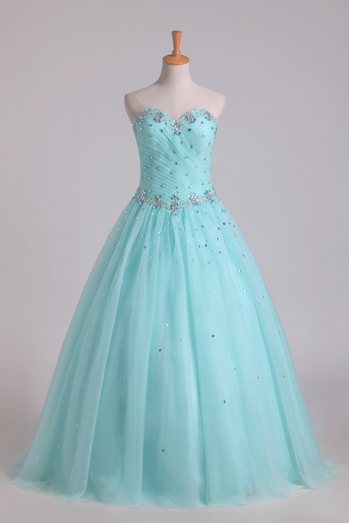 2019 Quinceanera Dresses Pleated Bodice Sweetheart Ball Gown