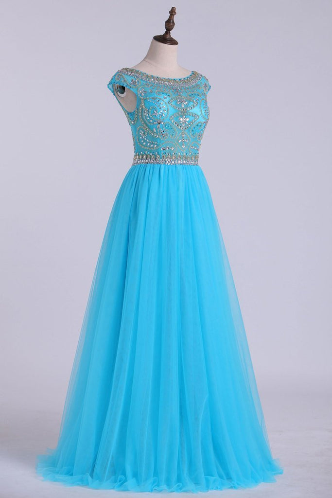 2019 Scoop A-Line Prom Dress Full Beaded Bodice Champagne Tulle Floor
