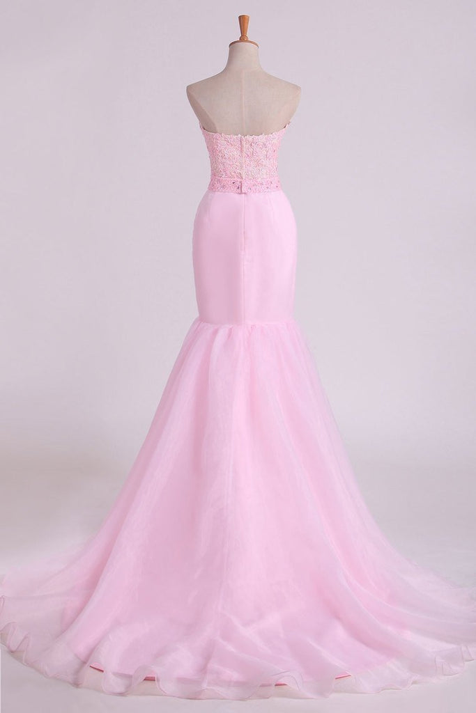 2019 Sweetheart Prom Dresses Mermaid/Trumpet With Applique Court
