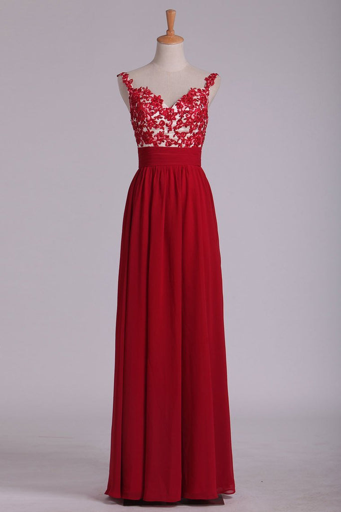 2019 Prom Dress Spaghetti Straps A Line Chiffon With Applique And Beads