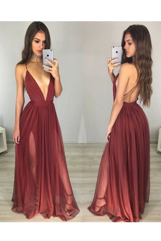 2020  Spaghetti Straps A Line Evening Dresses Tulle With Slit