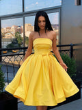 Simple Strapless Yellow Satin Ball Gown Short Homecoming Dresses Cocktail Dresses