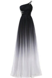 A line Chiffon Black and White One Shoulder Prom Dresses Long Ombre Evening Dresses