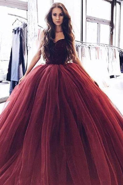Buy Ball Gown Burgundy Tulle Strapless