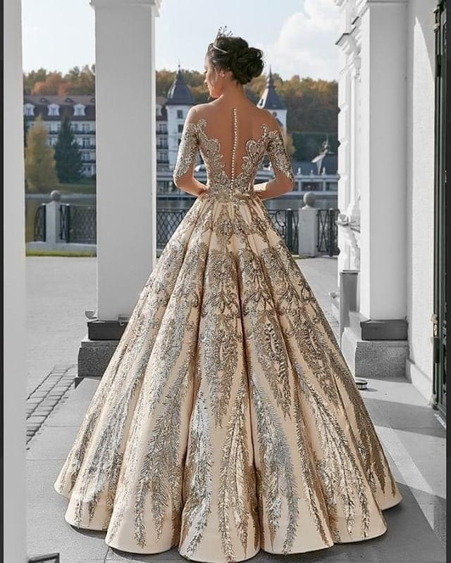 Ball Gown Long Sleeve Lace Appliques Prom Dresses Beads Long Wedding Dress