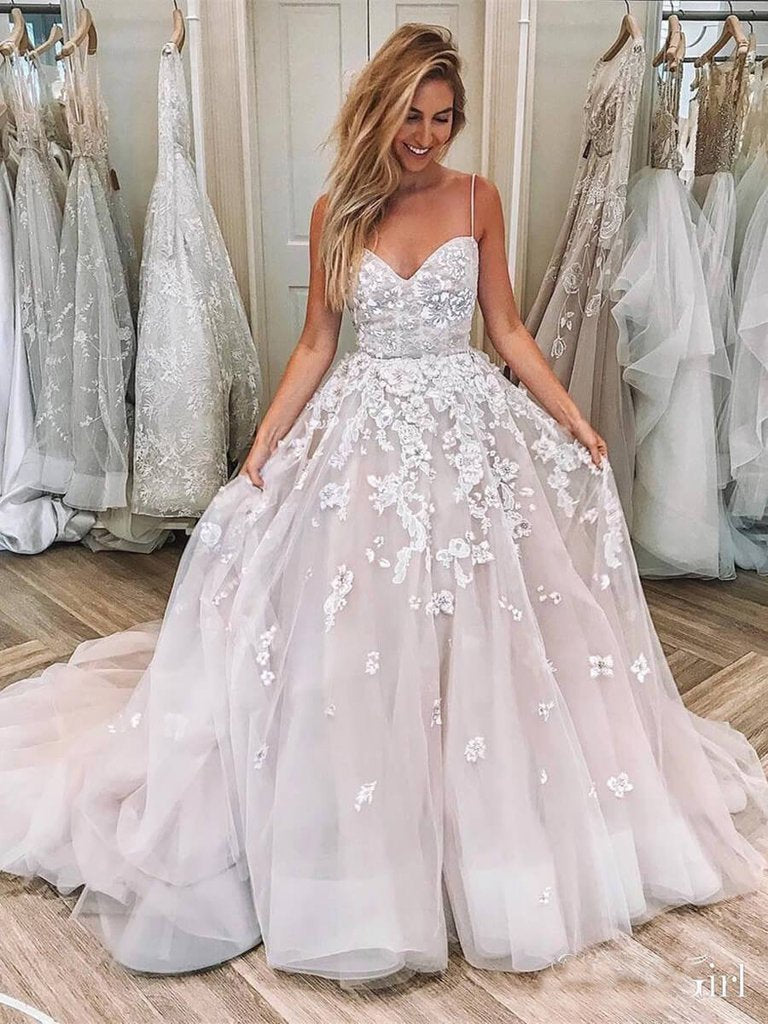 Buy Ball Gown Pink Spaghetti Straps Sweetheart Wedding Dresses