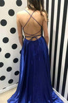 Blue Satin Scoop Long Prom Dresses High Slit Sleeveless Criss Cross Evening Dresses