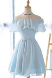 Cute Light Blue Off the Shoulder Short Prom Dresses Chiffon Homecoming Dresses