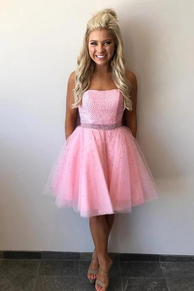 Cute Strapless Pink Tulle Beads Knee Length Short Prom Dresses Homecoming Dresses