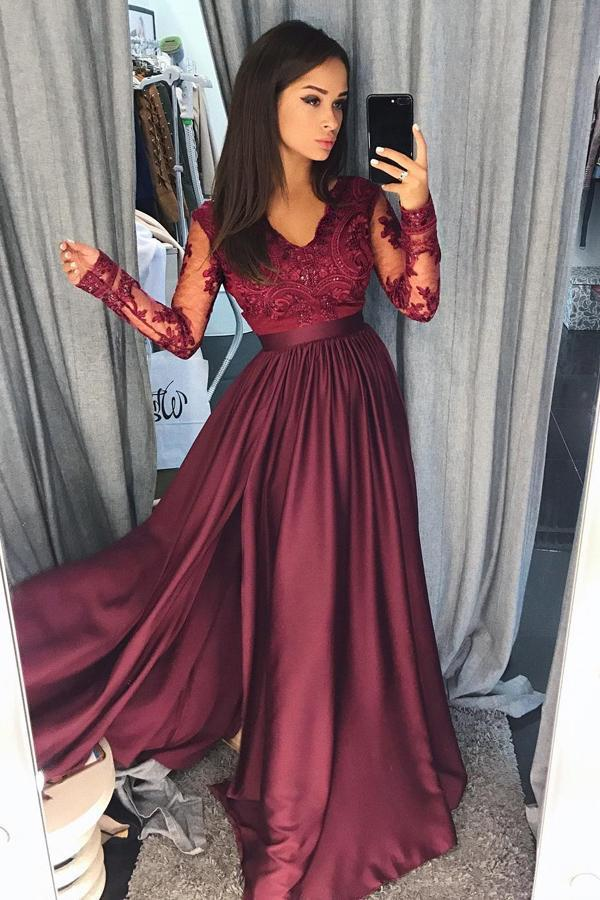 Charming Burgundy Satin Long Sleeves A-line Lace Long Prom Dresses Evening Dresses