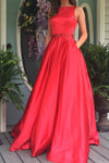 Elegant A Line Red Long Prom Dress Evening Dress with Open Back Pockets