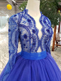 Elegant Blue Tulle Deep V Neck Long Sleeve Beads Ball Gown Prom Dresses with Lace up