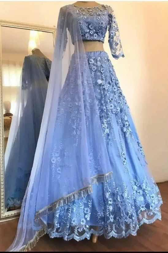 Elegant Blue Two Pieces Lace Appliques Scoop 3/4 Sleeve Long Cheap Prom Dresses