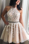 Elegant Halter Lace Appliques Beads Short Party Dresses Simple Homecoming Dresses