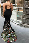 Mermaid V-Neck Court Train Black Stretch Satin Spaghetti Straps Prom Dress with Appliques