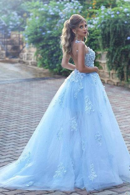 Buy Light Blue Lace Appliques Ball Gown
