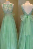 Elegant Scoop Beading A-line Tulle Green Floor-Length Bowknot Sequins Prom Dresses