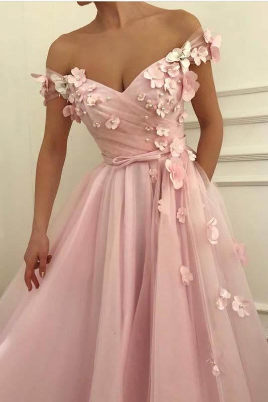 Flowers Beaded V Neck Off the Shoulder Prom Dresses Long Tulle Evening Gowns