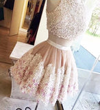 Cute Tulle Lace Round Neck Lace Appliques Two Pieces Short Homecoming Dresses