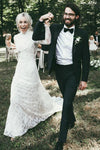 High Neck Lace Appliques Long Sleeve Mermaid Beach Wedding Dresses Bridal Dresses