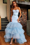 Light Blue Mermaid Strapless Tulle Prom Dresses Bowknot Layers Evening Dresses