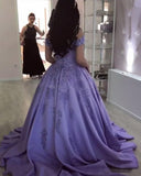 Lilac Ball Gown V Neck Off the Shoulder Lace Appliques Satin Beaded Prom Dresses