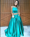 Gorgeous A-line Two Piece Hunter Green Long Prom Dress Formal Dresses
