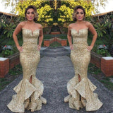 long gold sequin sparkle mermaid charming prom dress sweetheart prom dress