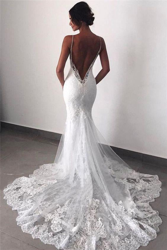Sexy Mermaid Spaghetti Straps Wedding Dresses Lace Appliques Wedding Gowns with Tulle