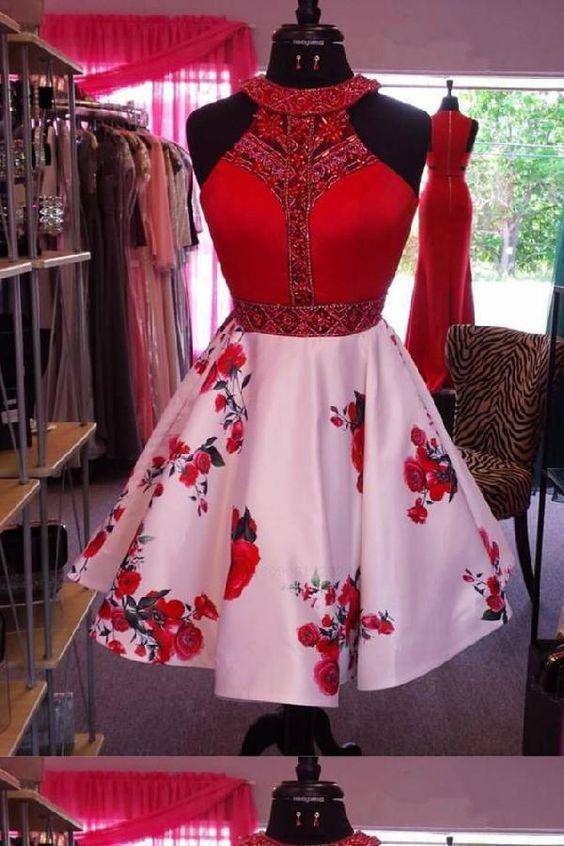 Simple Red Crystal Beaded Halter Short Floral Print Homecoming Dresses Cocktail Dresses