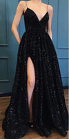 A Line Spaghetti Straps Black Sparkle Long Prom Dresses with Pockets V Neck Sequins Slit