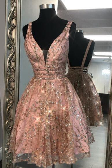 Unique V Neck Pink Beads Backless Homecoming Dresses Short Prom Dresses